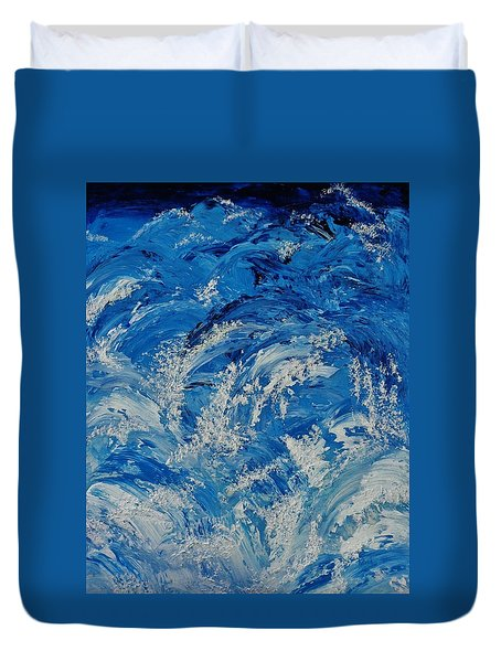 Duvet Cover featuring the painting Rush by Katherine Young-Beck