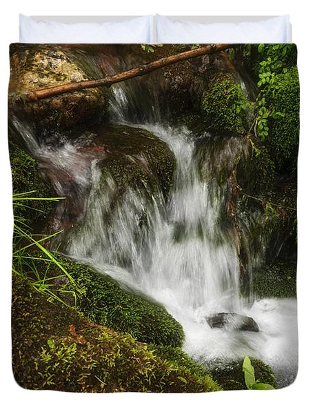 Rushing Mountain Stream And Moss Duvet Cover