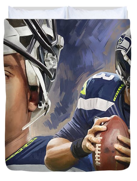 Duvet Cover featuring the painting Russell Wilson Artwork by Sheraz A