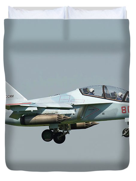 Russian Air Force Yak-130 Landing Duvet Cover by Daniele Faccioli