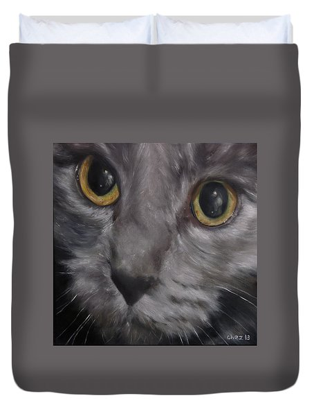 Duvet Cover featuring the painting Russian Blue by Cherise Foster