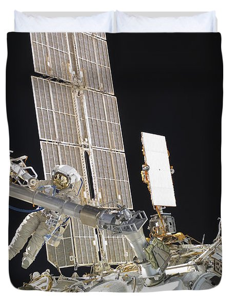 Russian Cosmonauts Working Duvet Cover by Stocktrek Images
