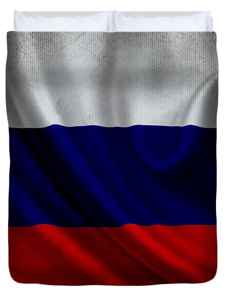 Russian Flag Waving On Canvas Duvet Cover by Eti Reid
