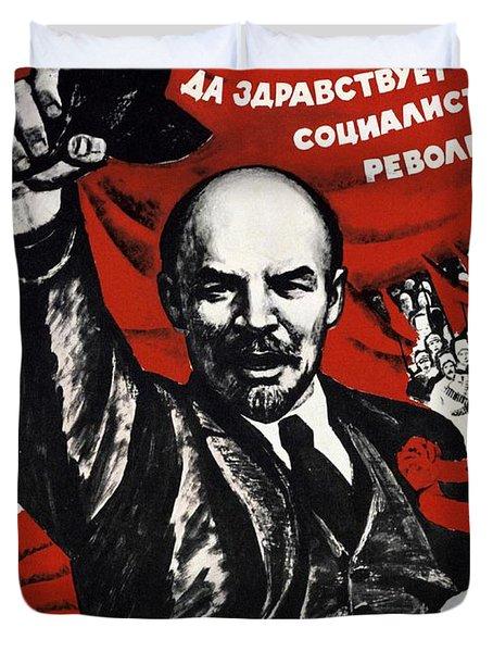 Russian Revolution October 1917 Vladimir Ilyich Lenin Ulyanov  1870 1924 Russian Revolutionary Duvet Cover by Anonymous