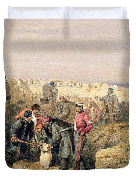 Russian Rifle Pit , Plate From The Seat Duvet Cover