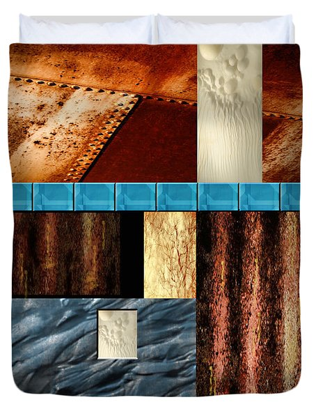 Rust And Rocks Rectangles Duvet Cover by Elaine Plesser