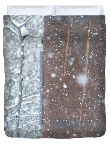 Rust Not Sleeping In The Snow Duvet Cover by Brian Boyle