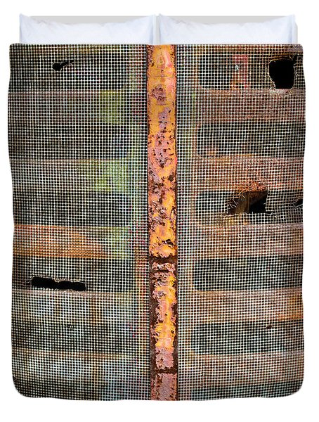 Rusted Grill - Abstract Duvet Cover by Colleen Kammerer