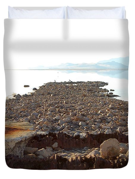 Rusted Pipe Thru Rock Path Duvet Cover by Holly Blunkall