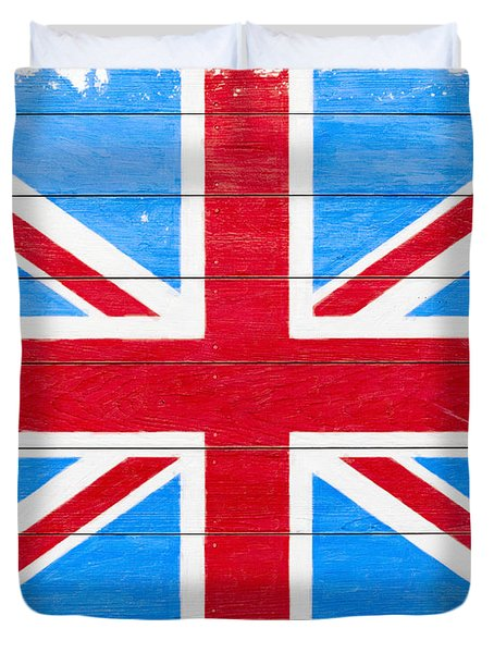 Rustic British Union Jack - Vintage Flag Duvet Cover by Mark E Tisdale