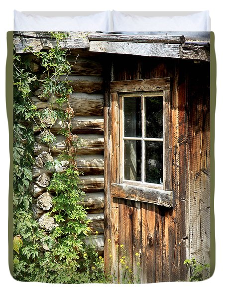 Rustic Cabin Window Duvet Cover by Athena Mckinzie
