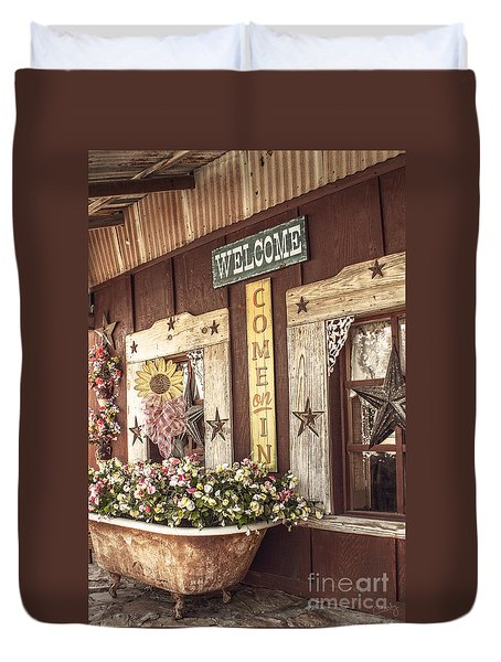 Rustic Country Welcome Duvet Cover