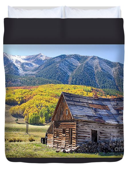 Rustic Rural Colorado Cabin Autumn Landscape Duvet Cover by James BO  Insogna