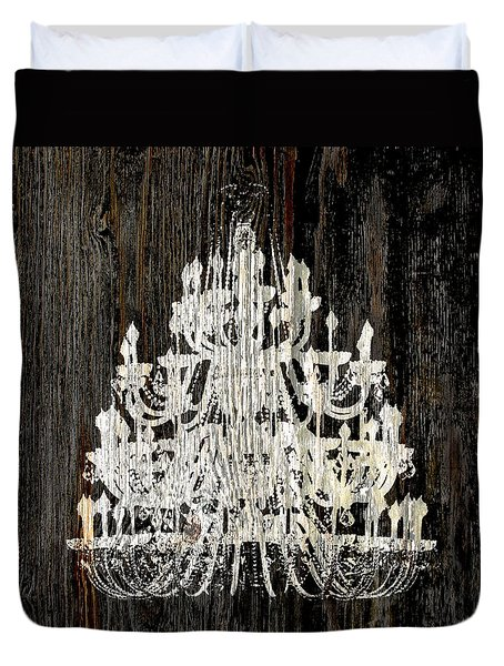Duvet Cover featuring the photograph Rustic Shabby Chic White Chandelier On Wood by Suzanne Powers
