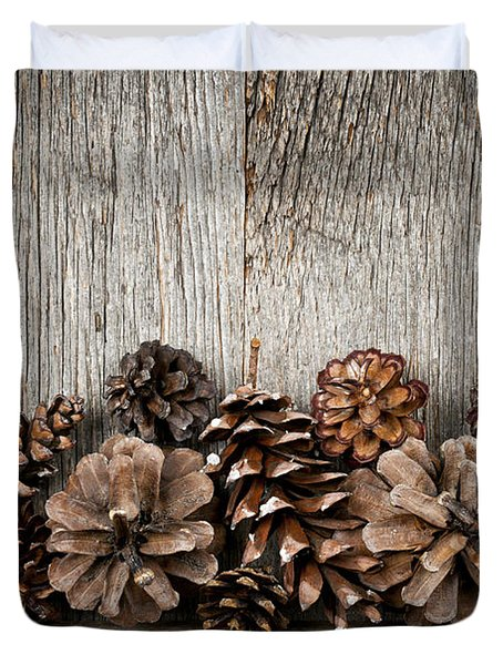 Rustic Wood With Pine Cones Duvet Cover