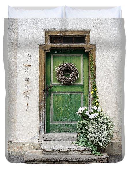 Rustic Wooden Village Door - Austria Duvet Cover by Gary Whitton