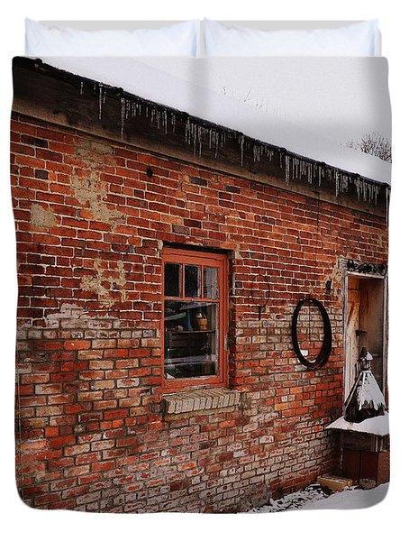 Rustic Workshop In Winter Duvet Cover