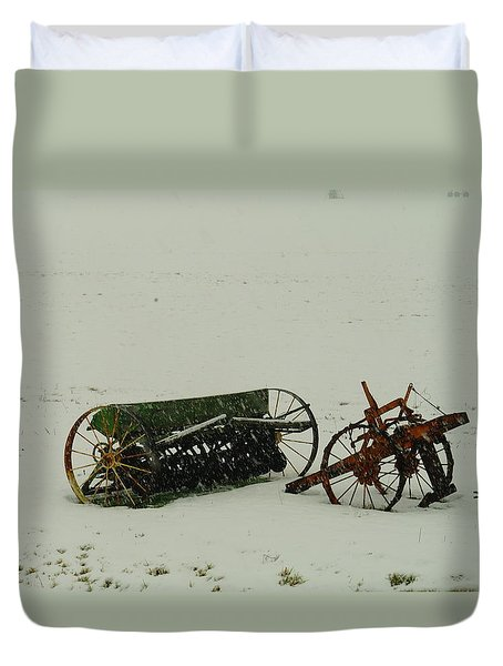 Rusting In The Snow Duvet Cover by Jeff Swan