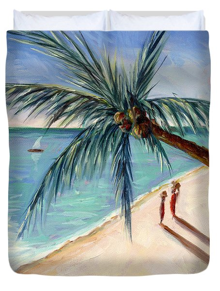 Rustling Palm Duvet Cover by Tilly Willis