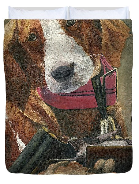 Duvet Cover featuring the painting Rusty - A Hunting Dog by Mary Ellen Anderson