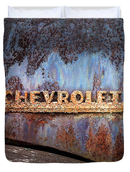 Duvet Cover featuring the photograph Rusty Chevrolet - Nameplate - Old Chevy Sign by Gary Heller