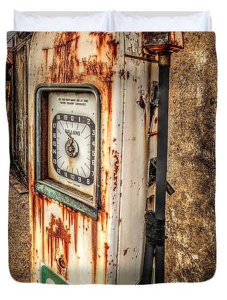 Rusty Gas Pump Duvet Cover by Adrian Evans