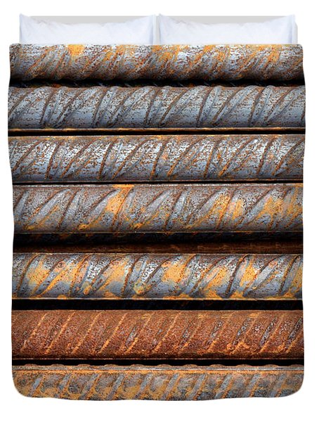 Rusty Rebar Rods Metallic Pattern Duvet Cover