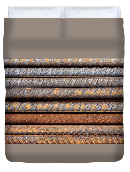 Rusty Rebar Rods Metallic Pattern Duvet Cover