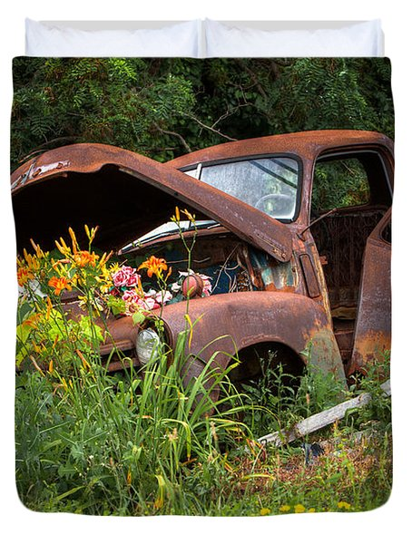 Duvet Cover featuring the photograph Rusty Truck Flower Bed - Charming Rustic Country by Gary Heller