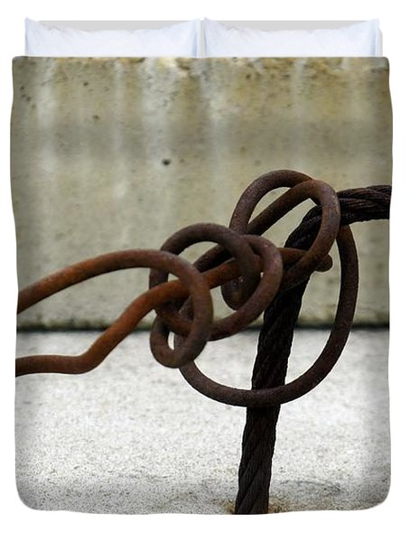 Duvet Cover featuring the photograph Rusty Twisted Metal I by Lilliana Mendez