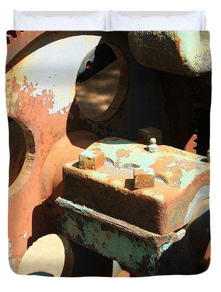 Rusty Wheel Gear Duvet Cover by Carol Groenen