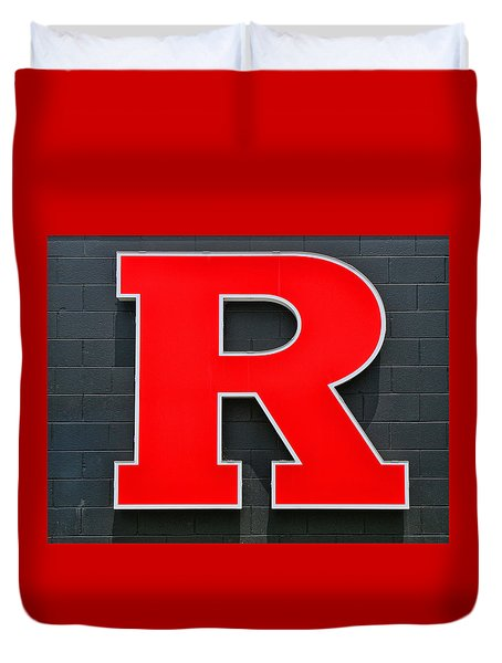 Rutgers Block R Duvet Cover by Allen Beatty