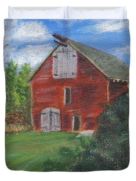 Duvet Cover featuring the painting Ruth's Barn by Linda Feinberg