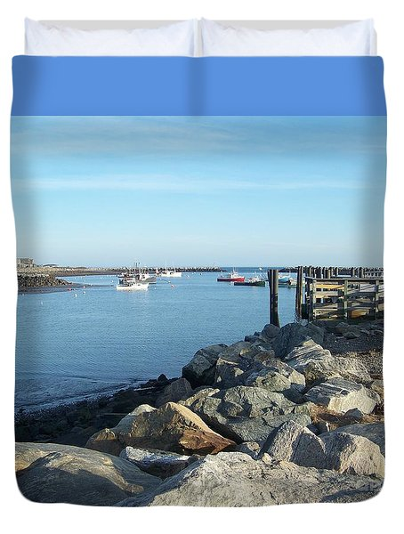 Duvet Cover featuring the photograph Rye Harbor  by Eunice Miller