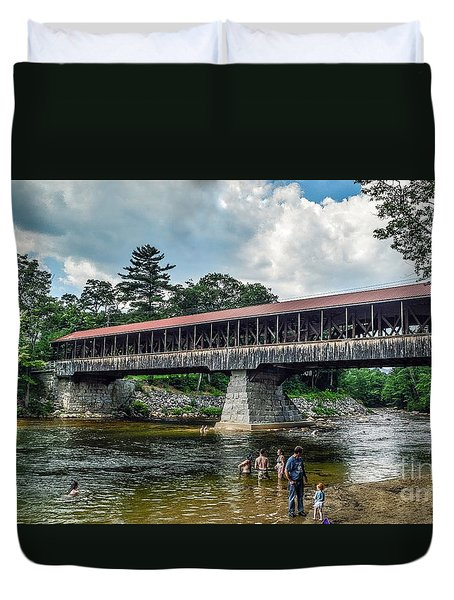 Duvet Cover featuring the photograph Saco River Covered Bridge  by Debbie Green