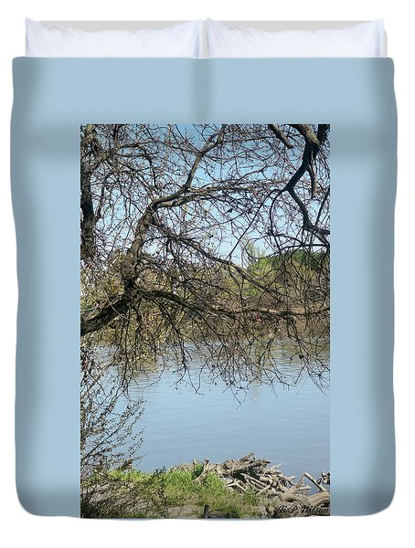 Fall At Sacramento River Scenic Photography Duvet Cover