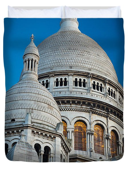 Sacre-coeur And Moon Duvet Cover by Inge Johnsson