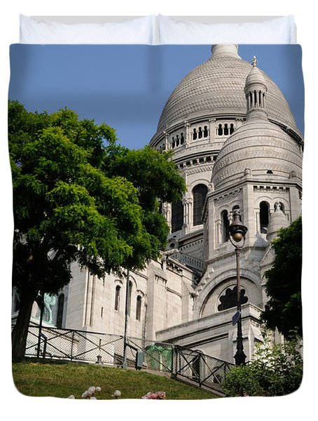 Duvet Cover featuring the photograph Sacre Coeur Flowers by Jeremy Voisey