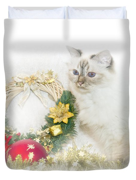 Sacred Cat Of Burma Christmas Time Duvet Cover by Melanie Viola