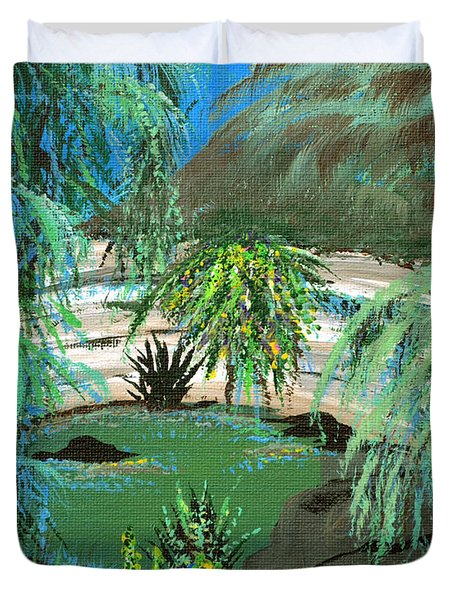 Duvet Cover featuring the painting Sacred Cenote At Chichen Itza by Alys Caviness-Gober