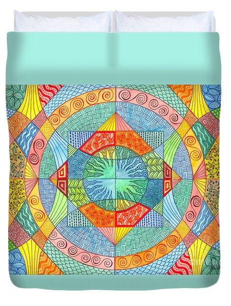 Duvet Cover featuring the mixed media Sacred Geometry by Kristen Fox