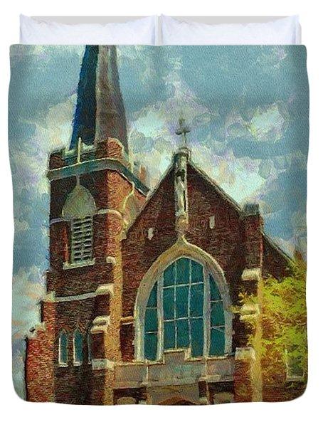 Sacred Heart Duvet Cover by Jeff Kolker