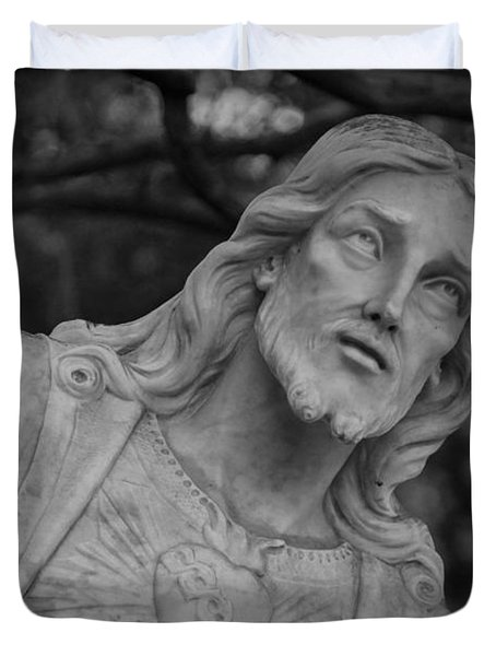 Sacred Heart Of Jesus - Bw Duvet Cover by Beth Vincent