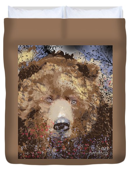 Duvet Cover featuring the digital art Sad Brown Bear by Kim Prowse