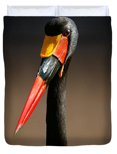 Saddle-billed Stork Portrait Duvet Cover