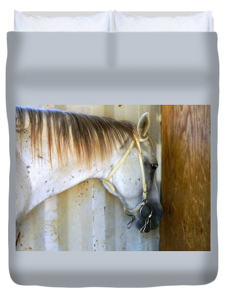 Duvet Cover featuring the photograph Saddle Break by Kathy Barney