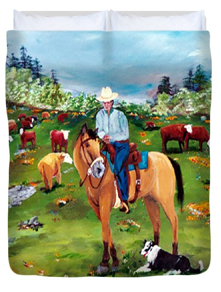 Saddle Pals Duvet Cover by Gail Daley