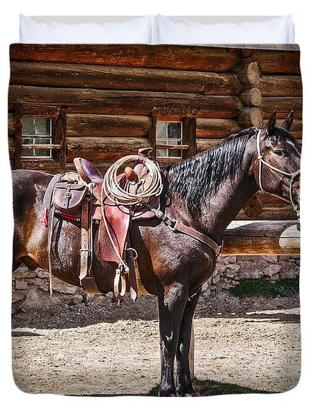 Saddled And Waiting Duvet Cover