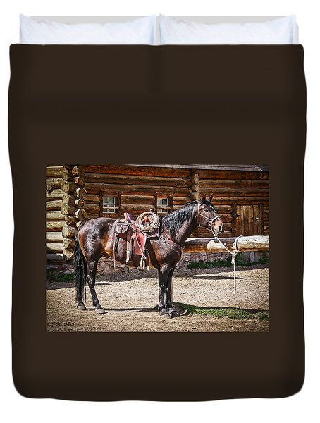 Saddled And Waiting Duvet Cover