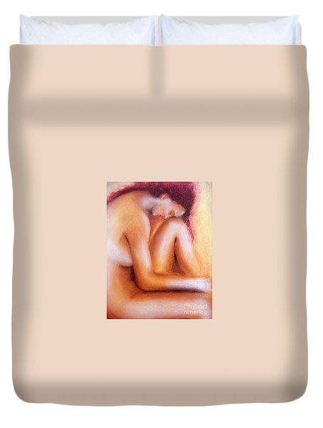 Duvet Cover featuring the painting Sadness by Jasna Dragun